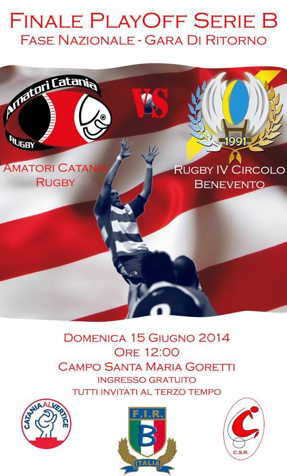 Locandina, Amatori Catania Rugby - IV Circolo Benevento, Finalissima, Serie B, Rugby